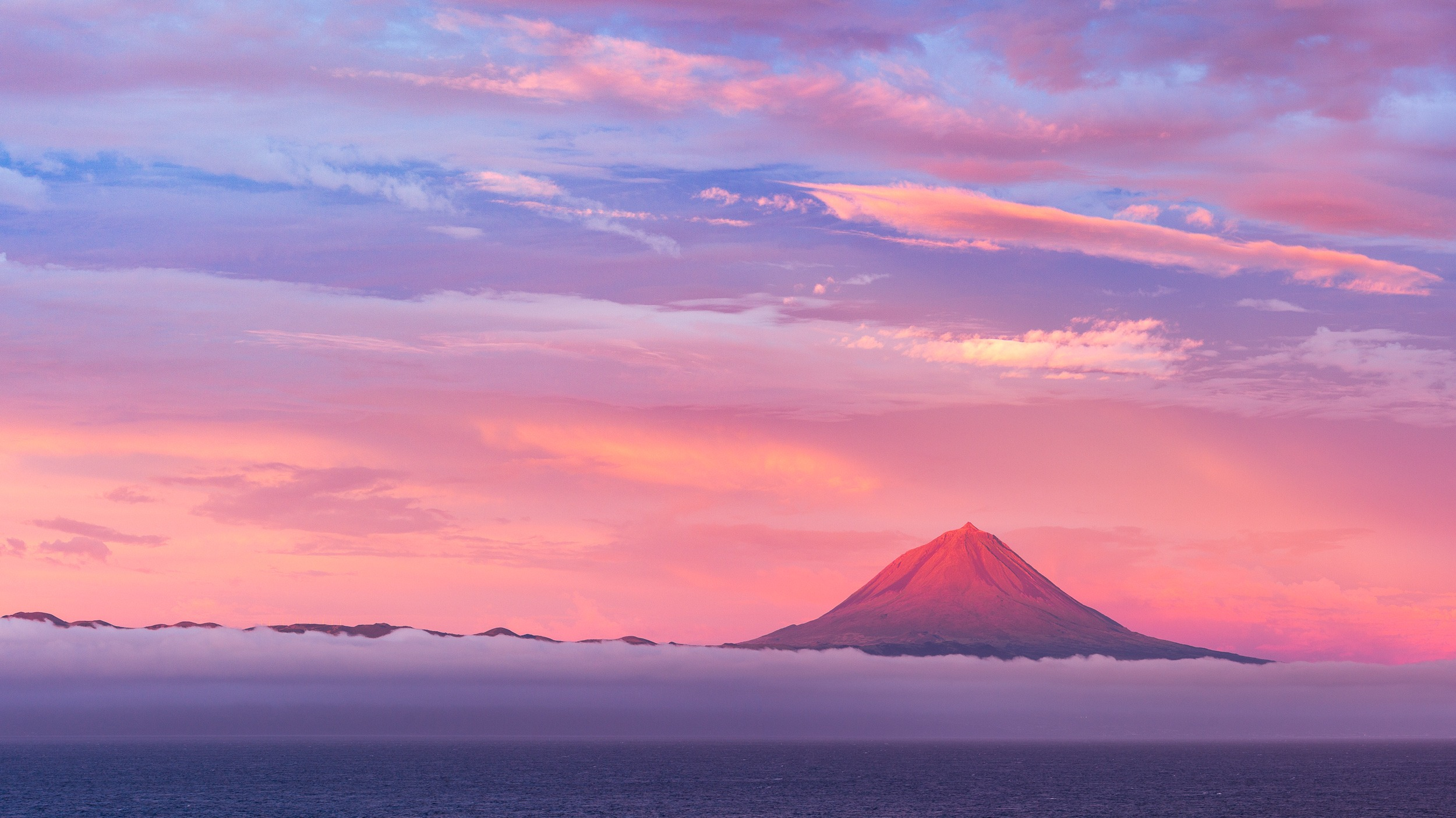 The mountain at sunrise viewed from São Jorge Island, Azores