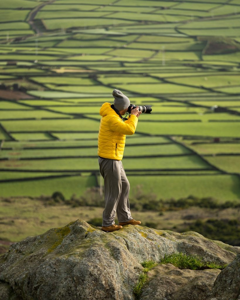 Photographer at Serra da Ribeirinha, Manta de Retalhos, Terceira Island, Azores