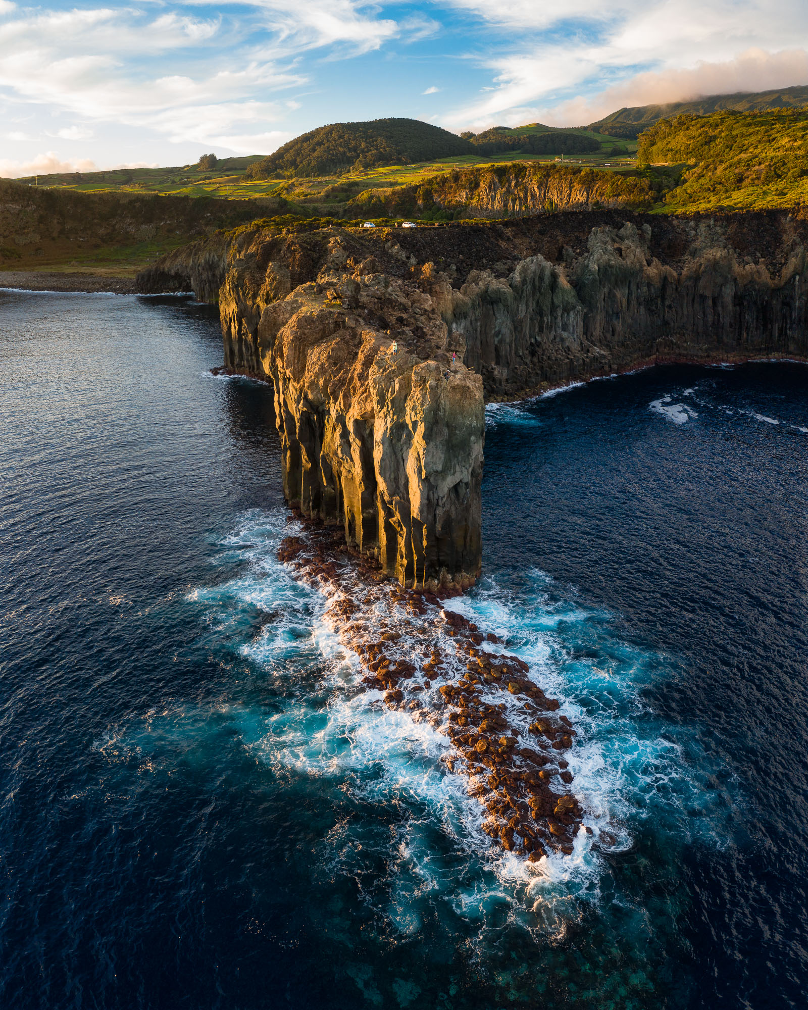 Amazing seascape cliffs of Baías da Agualva hiking trail, Terceira Island, Azores